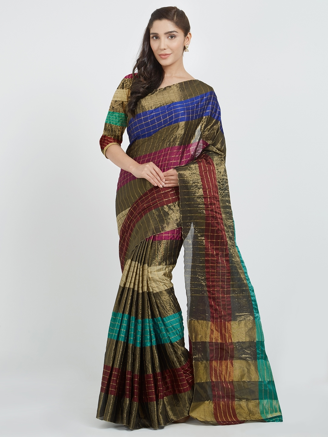 dd911c6f00973 Buy Silk Bazar Multicoloured Checked Art Silk Saree - Sarees for ...