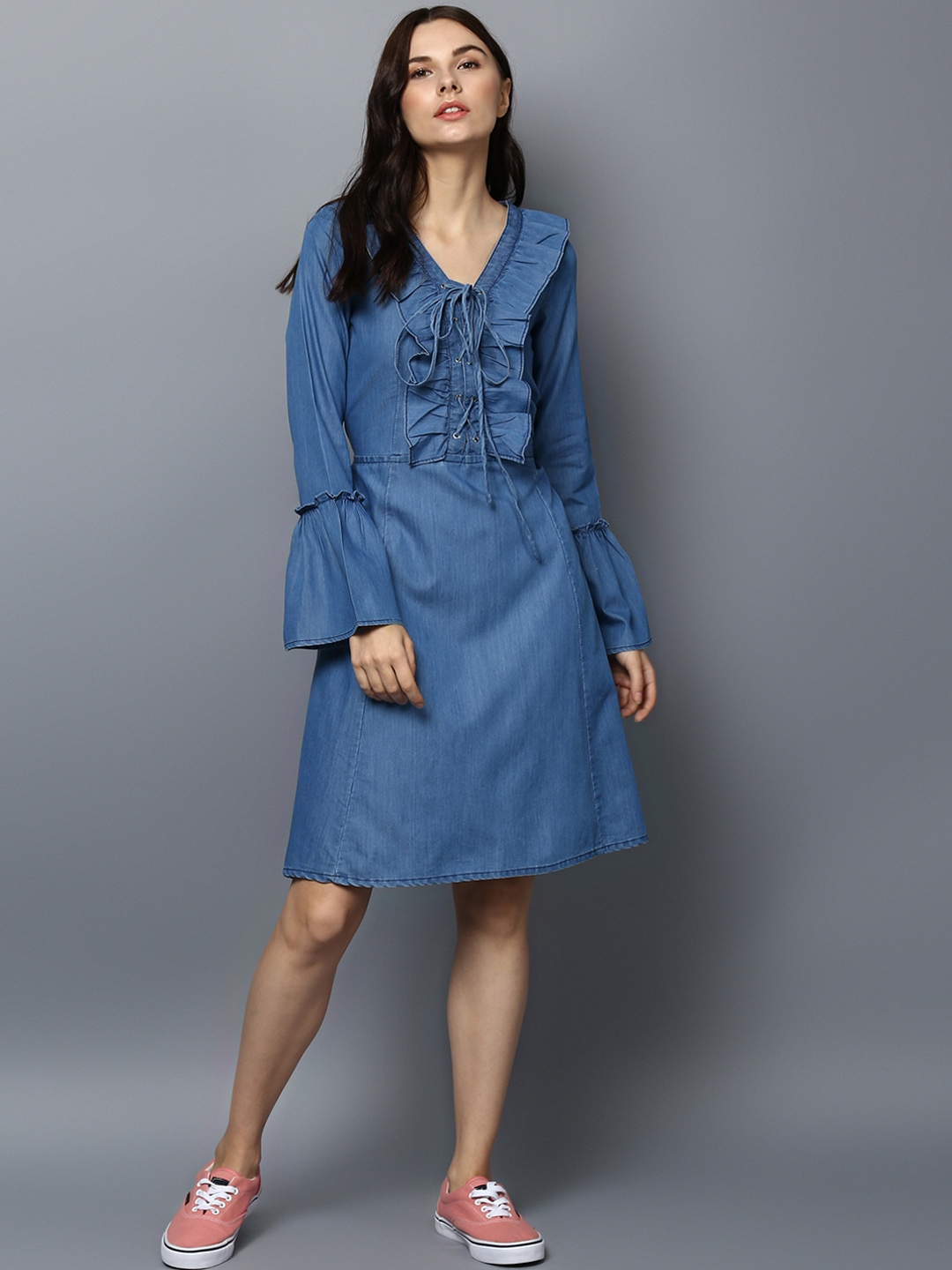 6226ddc7d64 Buy StyleStone Women Blue Solid Fit And Flare Dress - Dresses for ...