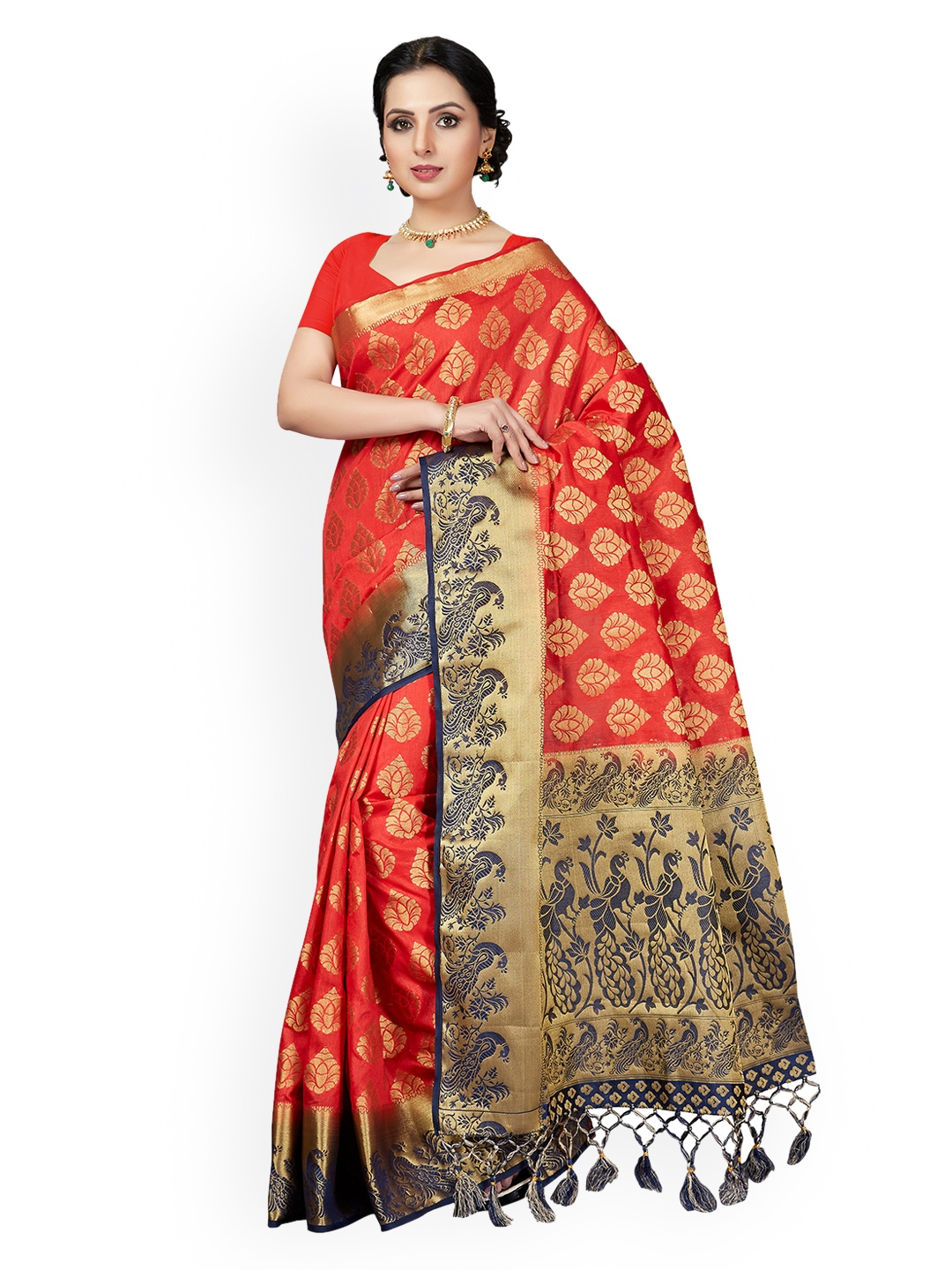 905c2814d4c49 Buy Ishin Red   Blue Poly Silk Woven Design Saree - Sarees for Women ...