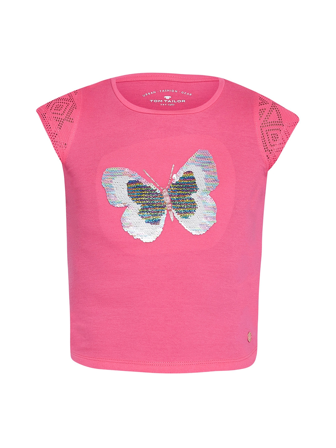 dc3653180f4d Buy Tom Tailor Girls Pink Printed Round Neck T Shirt - Tshirts for ...