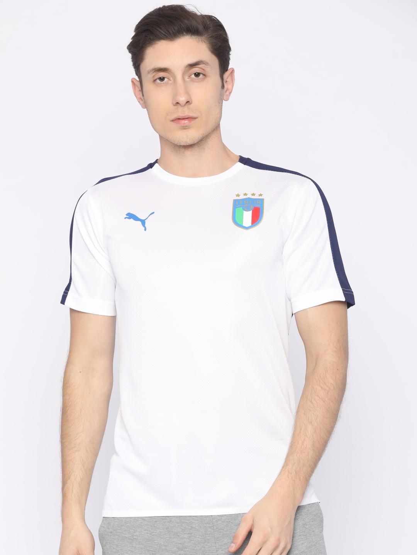 bbe51bf9946 Buy Puma Men White   Navy Blue FIGC Italia Stadium T Shirt - Tshirts ...