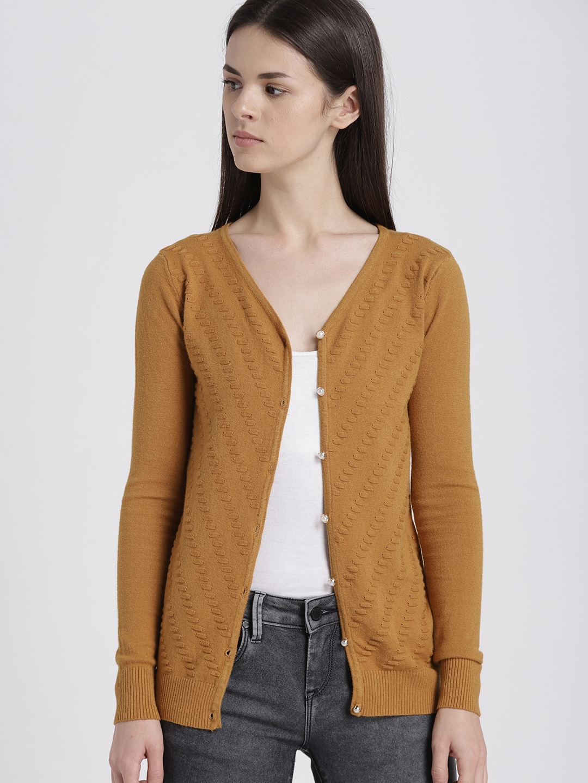 Buy Chemistry Women Mustard Yellow Self Design Cardigan Sweaters