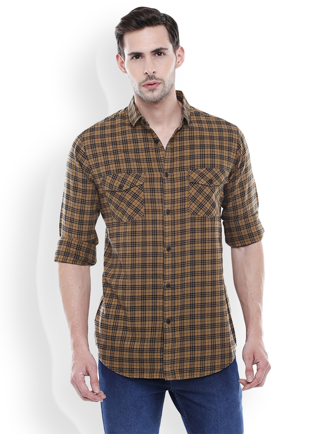 Dennis Lingo Men Khaki   Black Slim Fit Checked Casual Shirt