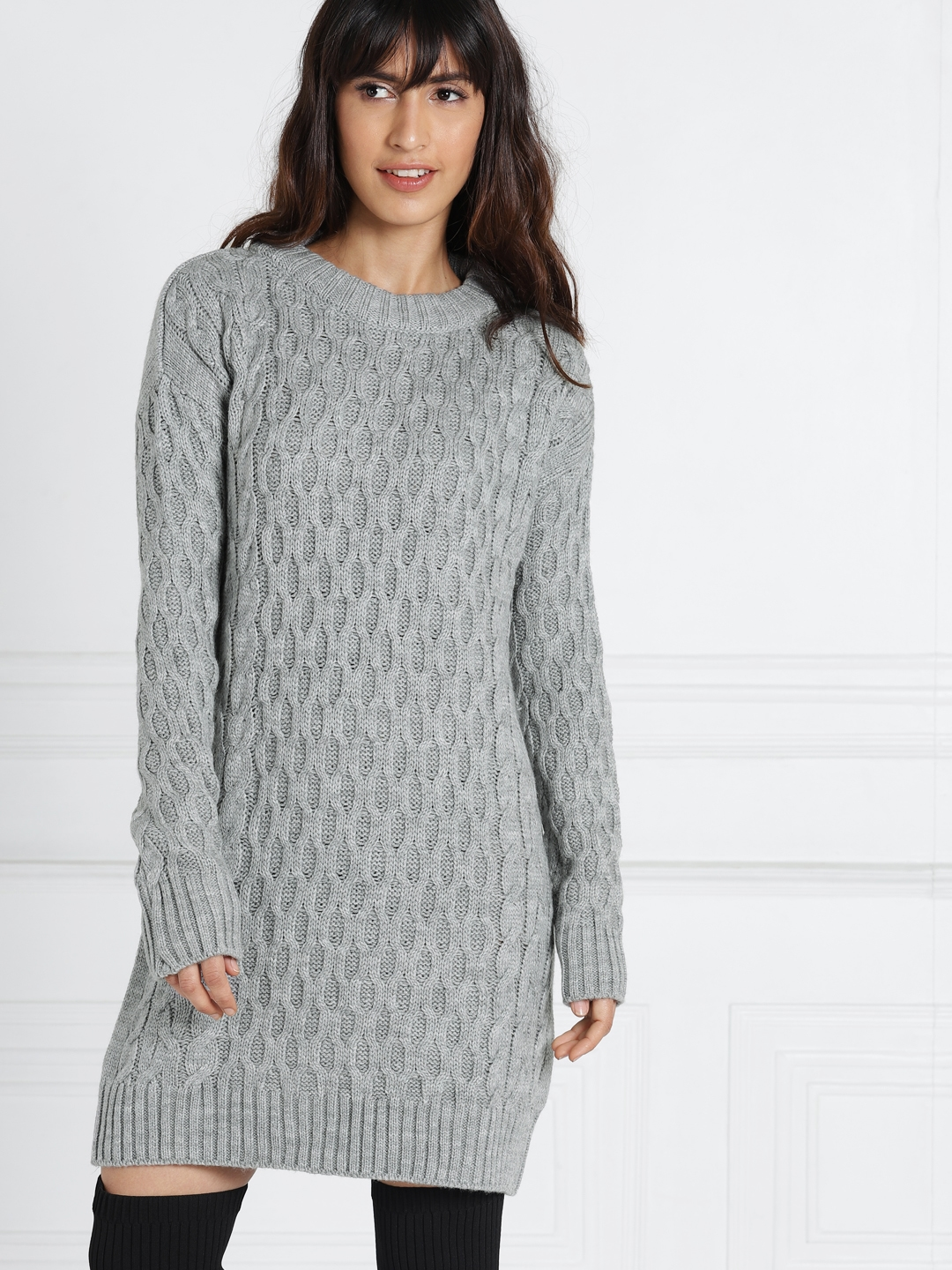 d15be1320f all about you from Deepika Padukone Women Grey Self Design Sweater Sheath  Dress