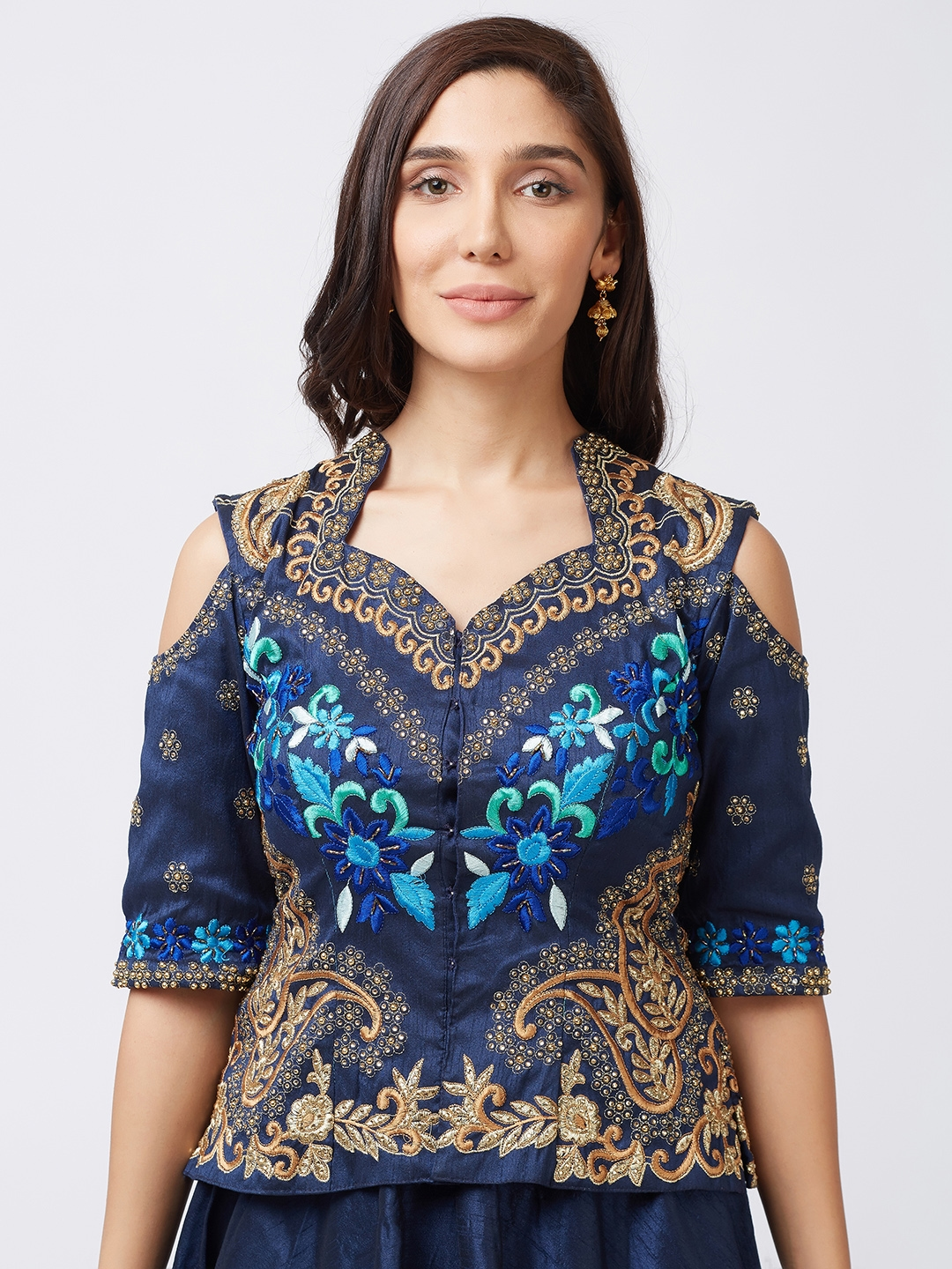e0821842a Patang Navy Blue   Gold-Toned Embroidered Semi-Stitched Lehenga   Unstitched  Blouse with Dupatta