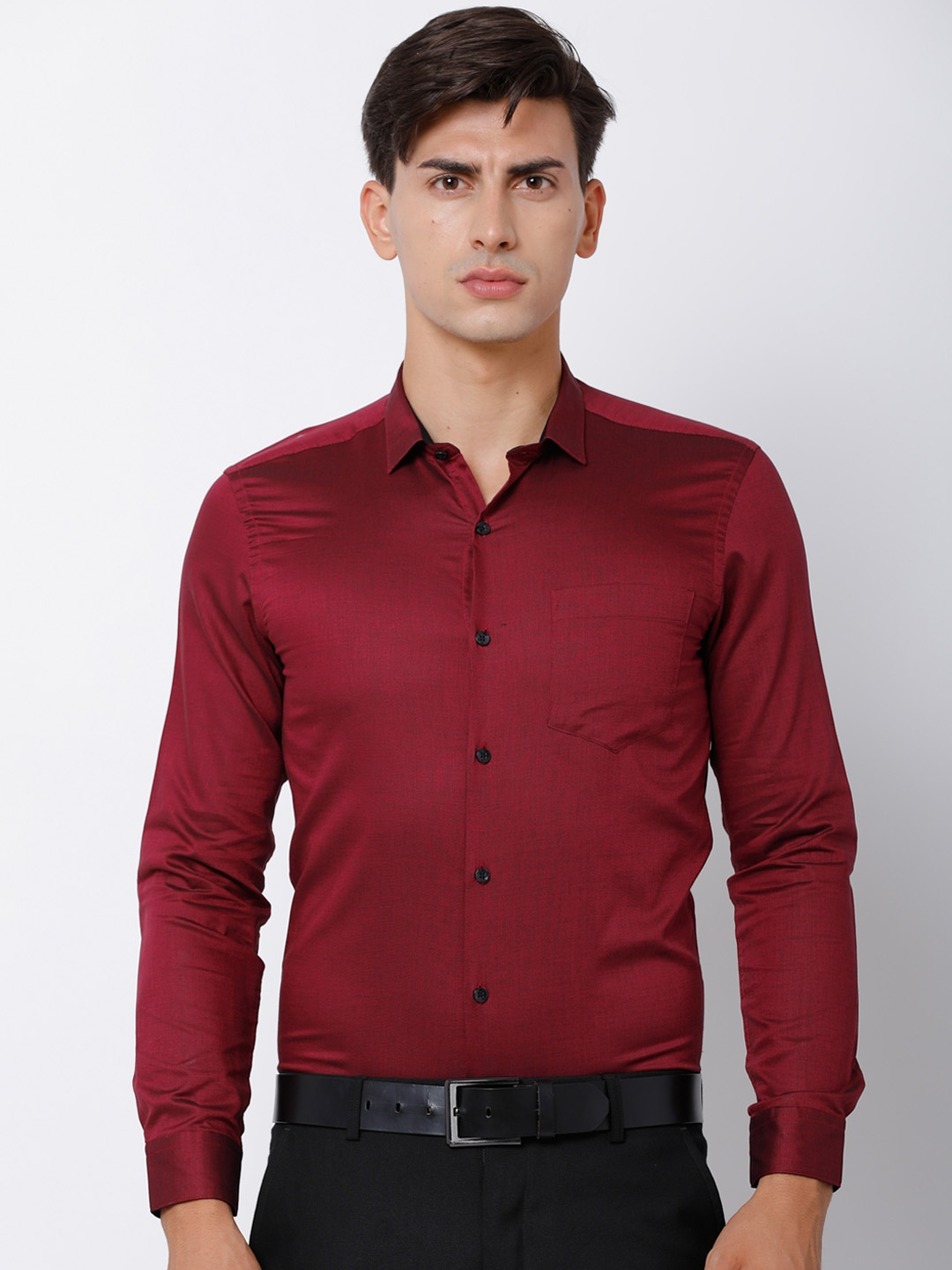 b0e5f8bce3ae Buy Black Coffee Men Maroon Slim Fit Solid Formal Shirt - Shirts for ...