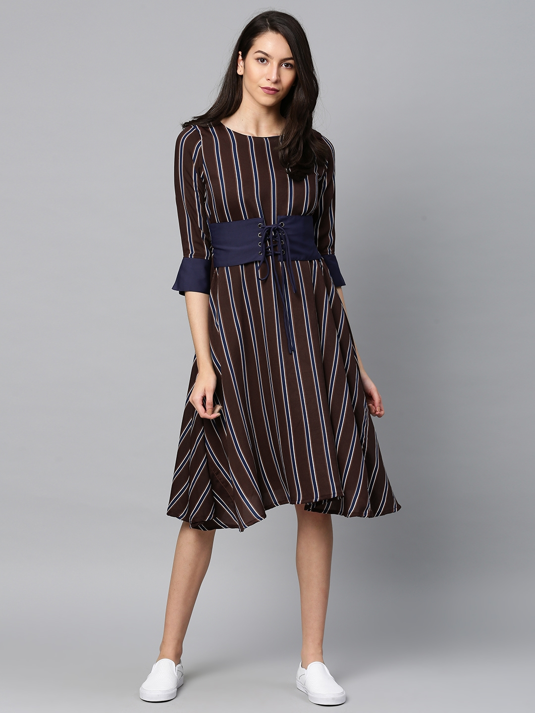 8f7c42c553 Buy Tokyo Talkies Women Purple   Blue Striped Fit And Flare Dress ...