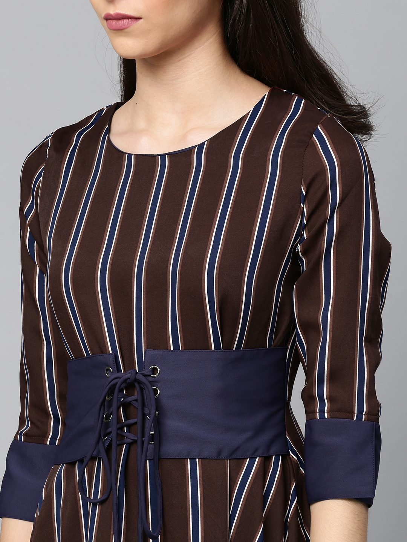 7a2c7bee7ee Buy Tokyo Talkies Women Purple   Blue Striped Fit And Flare Dress ...