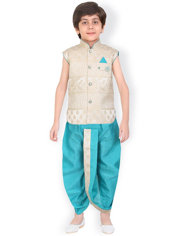 02ca0a20454 Buy Jeetethnics Boys Off White   Blue Self Design Kurta With Dhoti ...