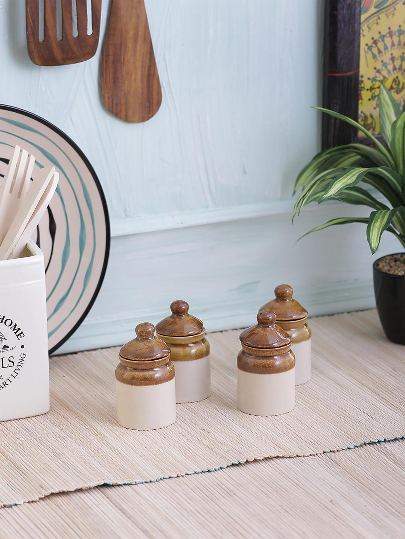 VarEesha Set Of 4 Off White   Brown Ceramic Multipurpose Storage Jars VarEesha Kitchen Storage
