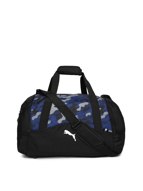 Buy Puma Unisex Black   Blue Fundamentals Graphic Sports Duffel Bag ... b4cc361274