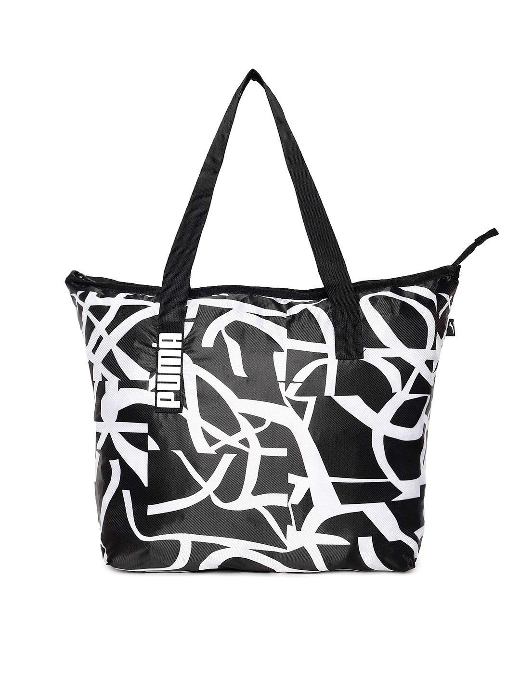 5d9ddffc4d08a Buy Puma Women Black   White Printed Core Active Shopper Shoulder ...