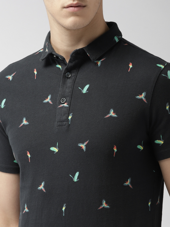 f01db7d5 Buy Superdry Men Navy Blue Printed Polo Collar T Shirt - Tshirts for ...