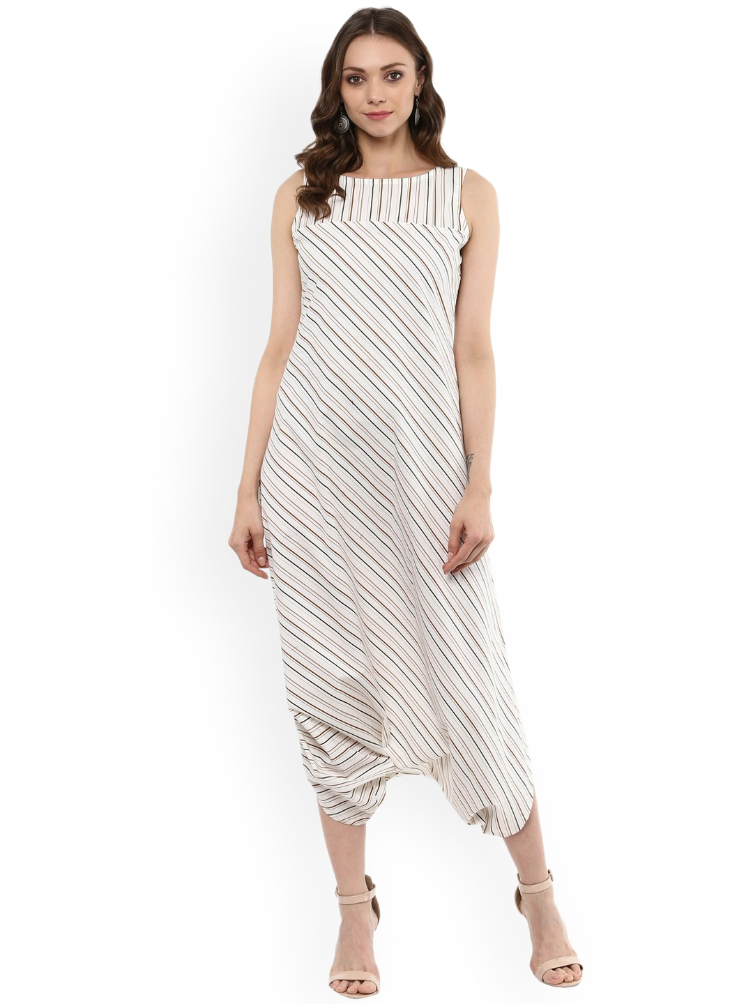 5fae80ac03d Buy Idalia Off White   Brown Striped Basic Jumpsuit - Jumpsuit for ...