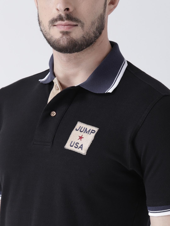 062726362 Buy JUMP USA Men Black Printed Polo Collar T Shirt - Tshirts for Men ...