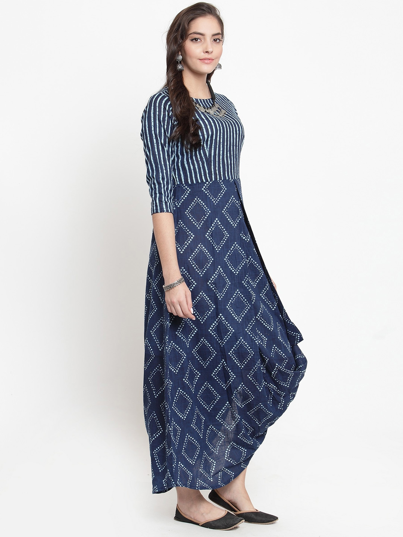 ee05492386756e Buy TJORI Women Blue Printed Maxi Dress - Dresses for Women 6744212 ...