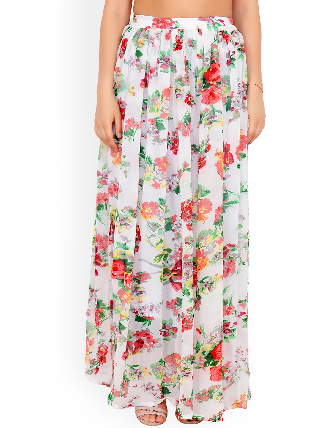 62093e9f1d90 Buy Cation Women White   Red Floral Print Flared Maxi Skirt - Skirts ...