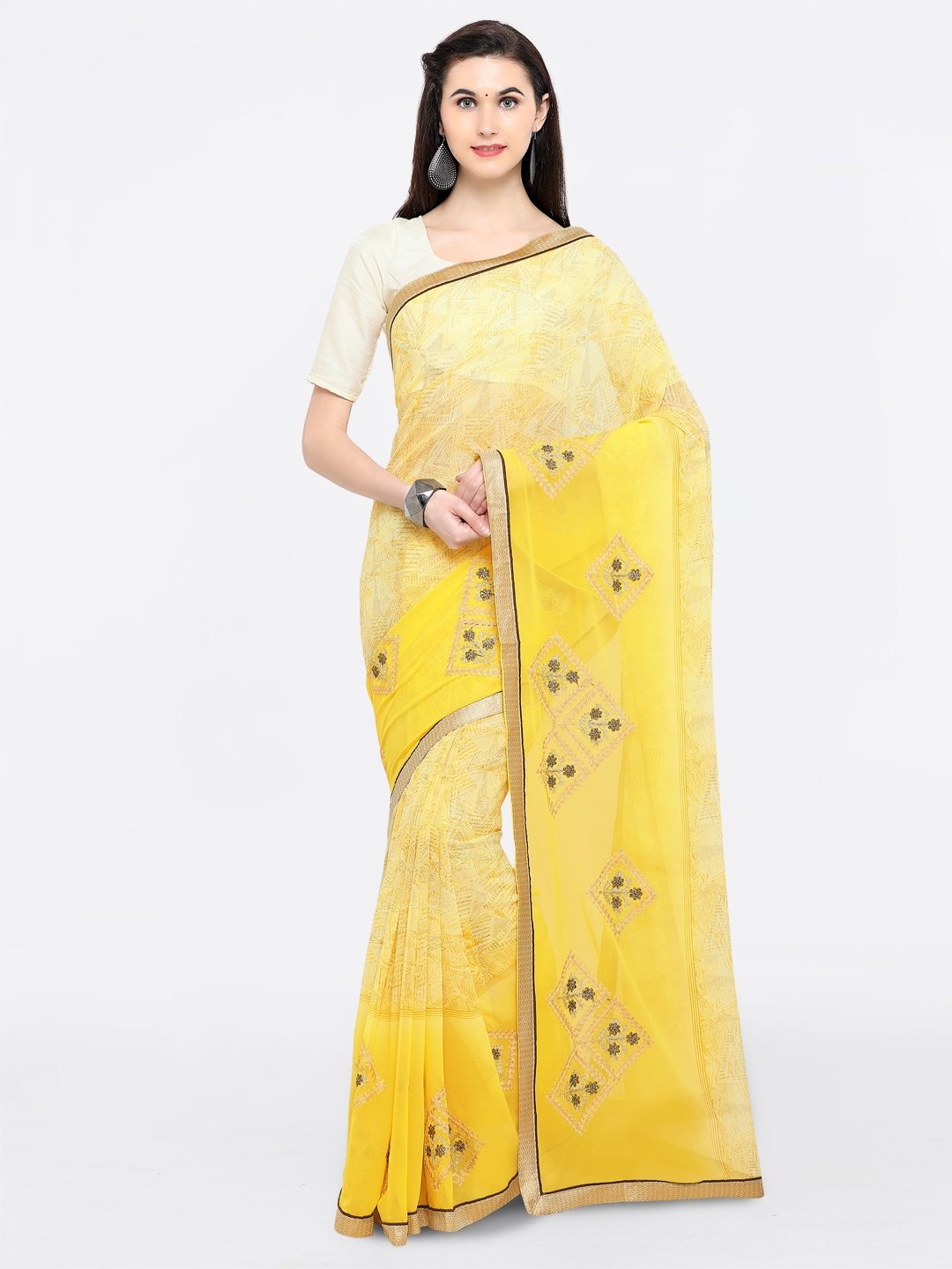ff9ceef5a41 Buy Triveni Yellow Printed Pure Georgette Saree - Sarees for Women ...