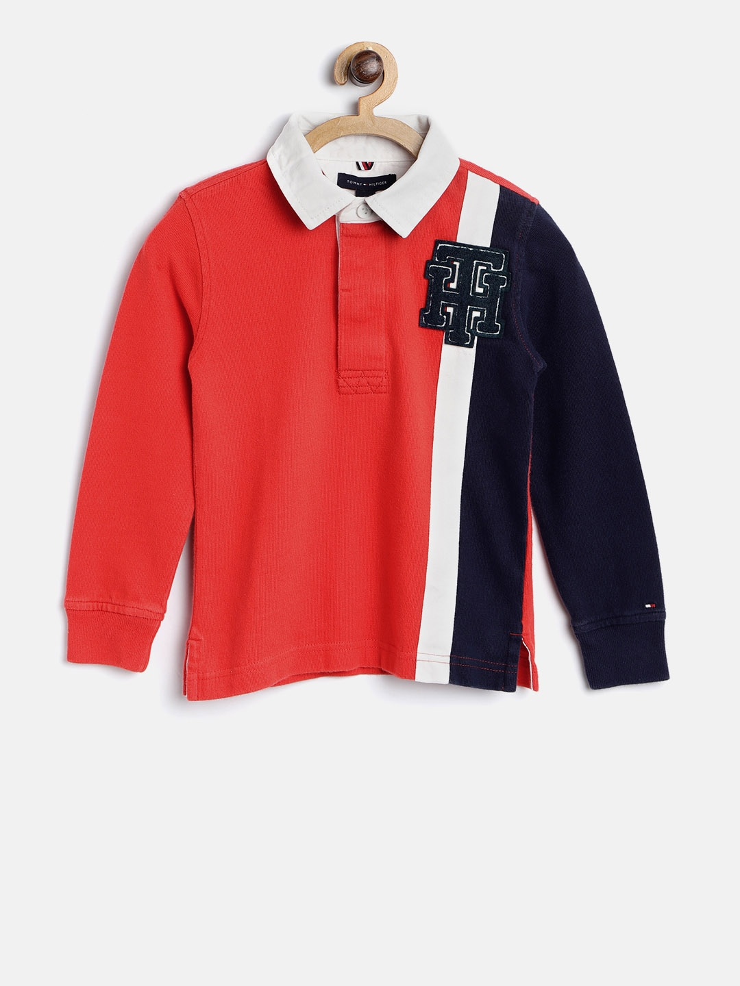 360a730f3 Buy Tommy Hilfiger Boys Red Colourblocked Polo Collar T Shirt ...