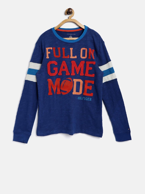 1a53efaf Buy Tommy Hilfiger Boys Blue Embossed Print Round Neck T Shirt ...