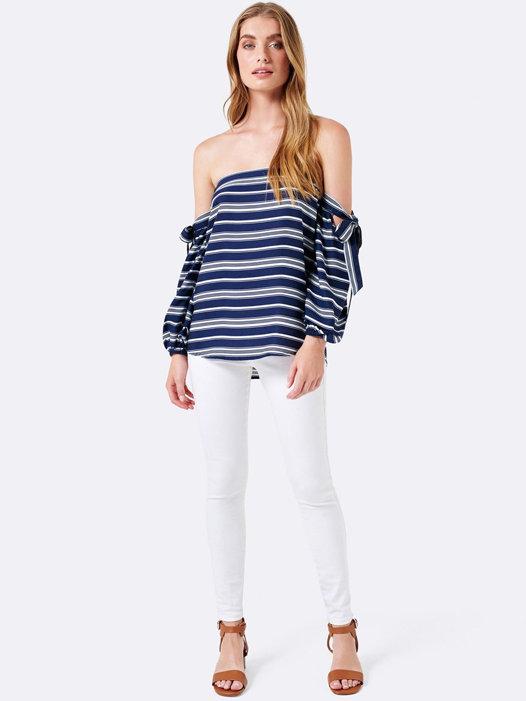 4883132dfb83fc Buy Forever New Women Navy Blue Striped Bardot Top - Tops for Women ...
