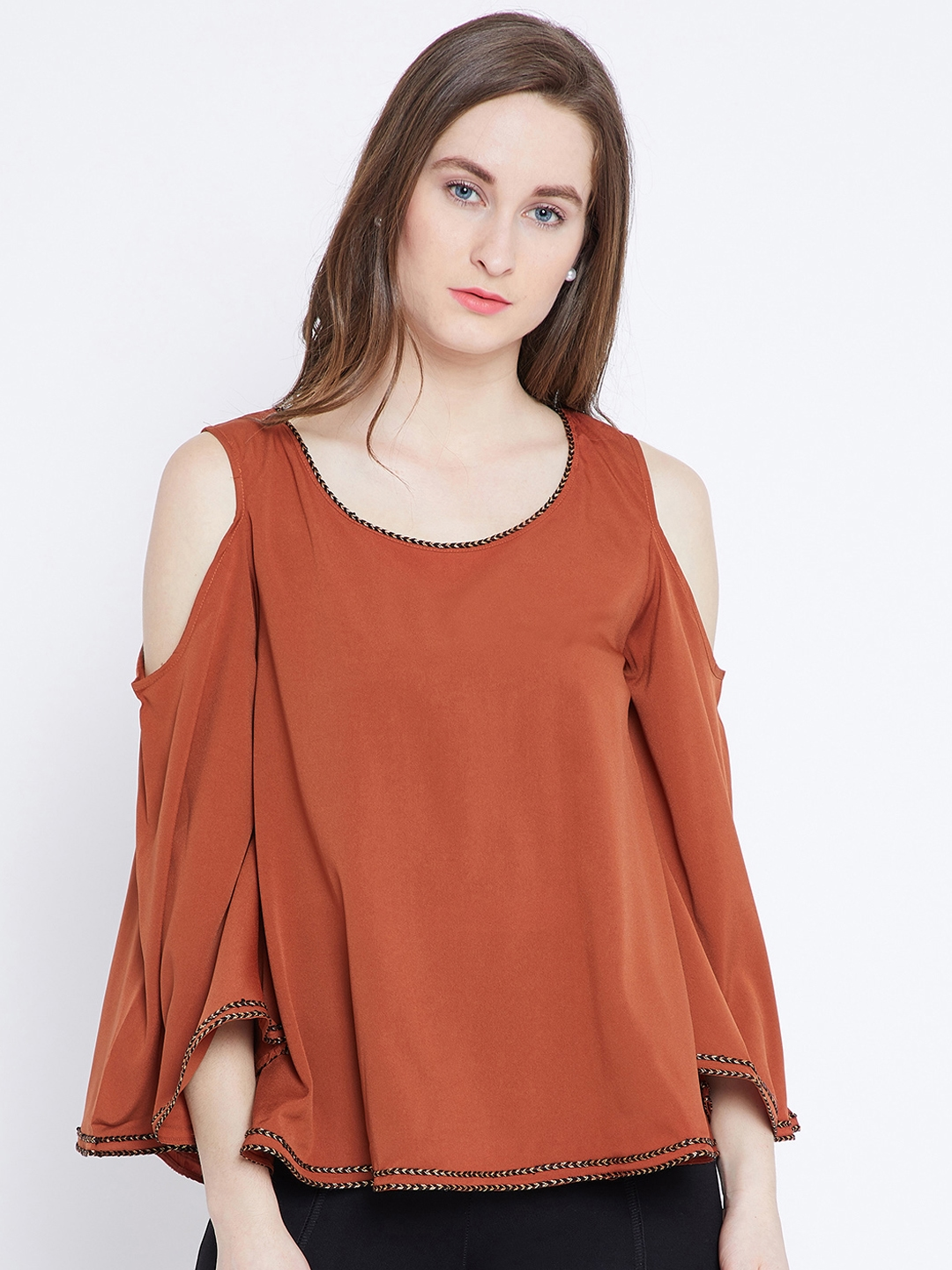 8f3886b608c7 Buy PRIMO KNOT Women Rust Red Solid Cold Shoulder Top - Tops for ...