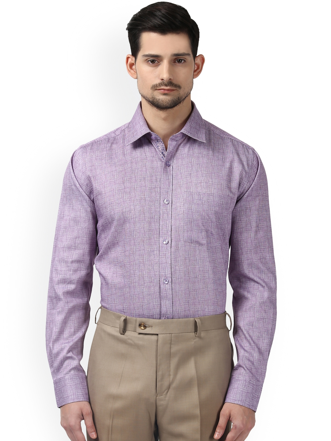 7877547944e Buy Next Look Men Purple Slim Fit Self Design Semiformal Shirt ...
