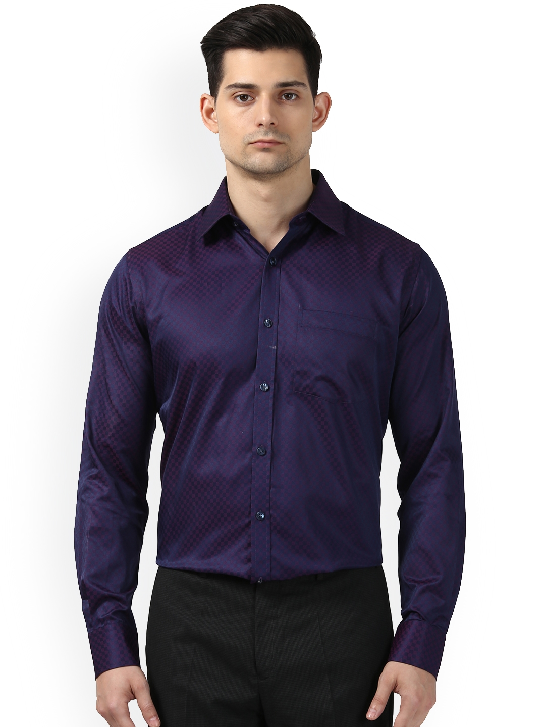 875f1c6401f Buy Next Look Men Purple Slim Fit Checked Semiformal Shirt - Shirts ...