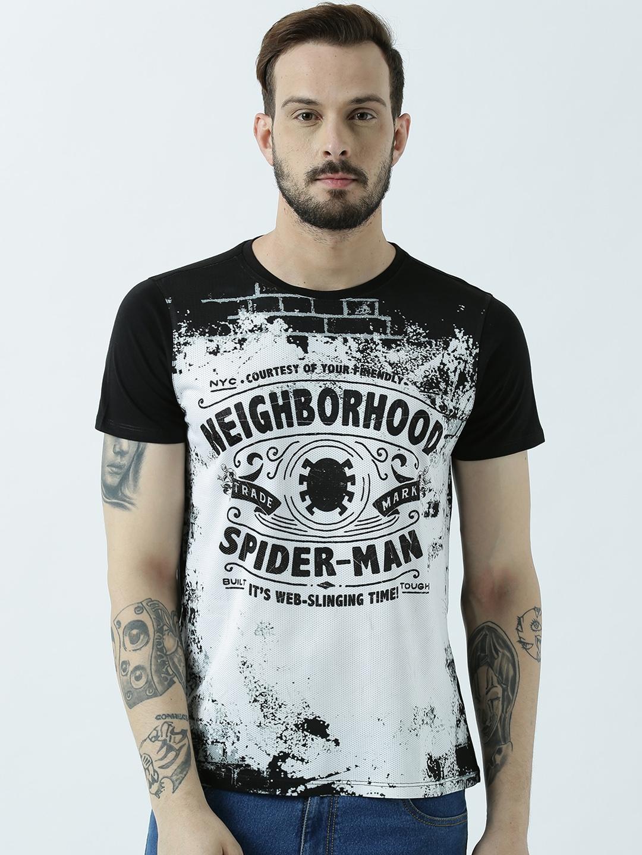72dc4496c Buy Marvel Spiderman Men Black Printed Round Neck T Shirt - Tshirts ...