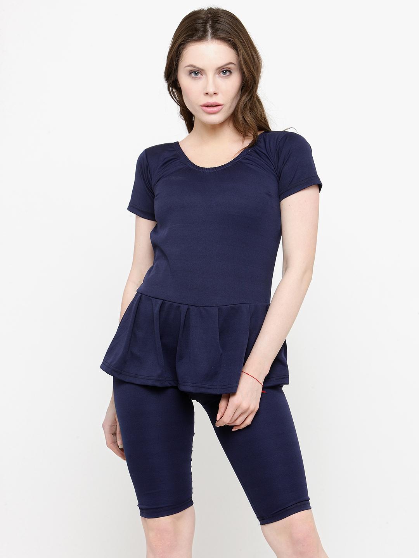 N Gal Women Navy Blue Solid Swimsuit