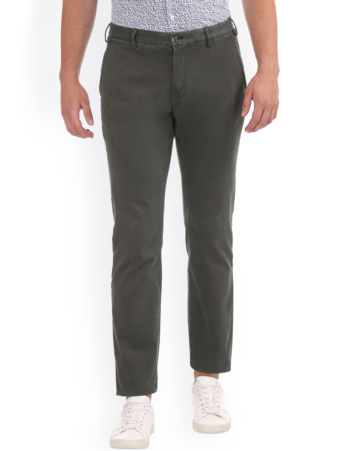 8637fd365f Buy GANT Men Charcoal Grey Regular Fit Solid Chinos - Trousers for ...