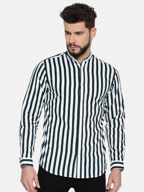 ef80d45737d1 Buy Jack & Jones Men Black & White Slim Fit Striped Casual Shirt ...
