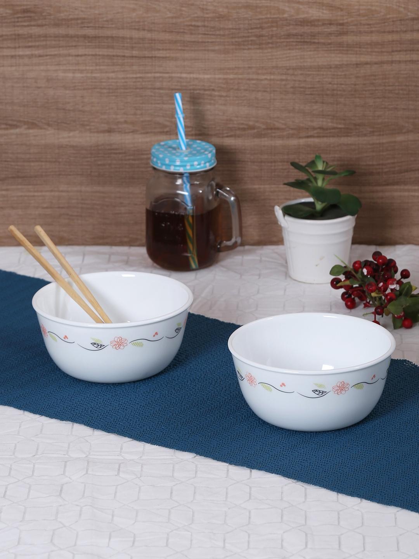 Corelle White   Blue 3 Pieces Printed Glass Bowls Set