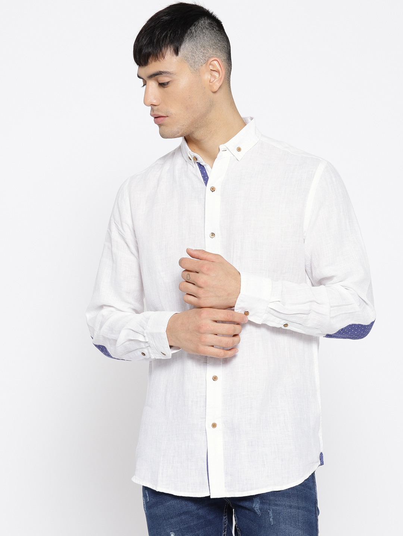 fdee88b68ba Buy Cottonworld Men White Linen Slim Fit Solid Casual Shirt - Shirts ...