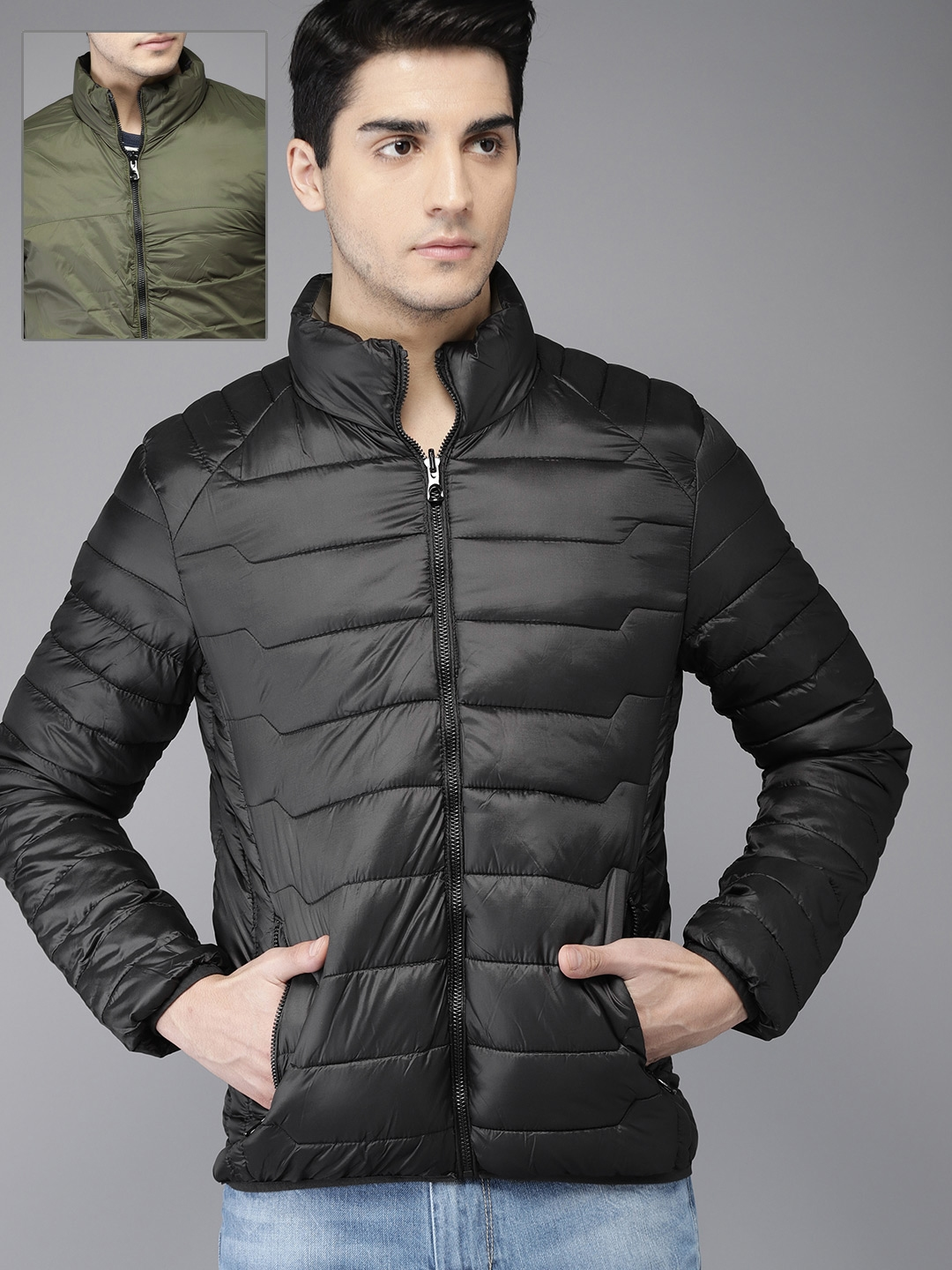 dd35c823 Buy HERE&NOW Men Black & Olive Green Solid Reversible Puffer Jacket ...
