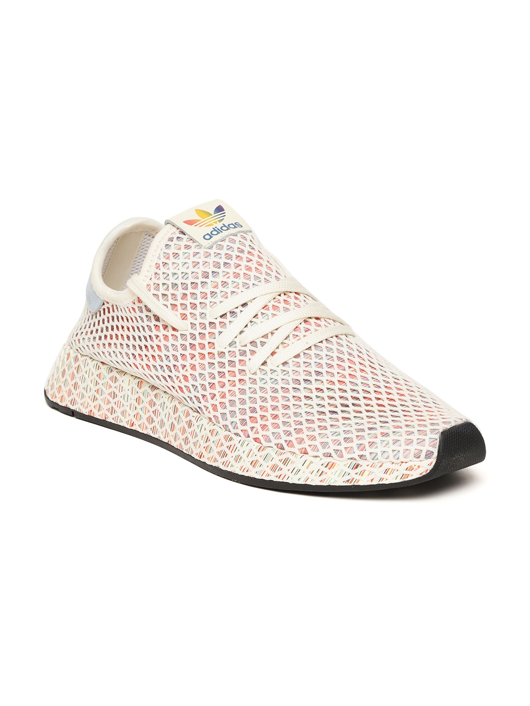 0ba60835fa82e Adidas Originals Men Cream   Peach-Coloured Deerupt Pride Sneakers