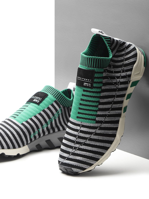 cheap for discount f6e89 78309 ADIDAS Originals Men Black & Grey EQT Support SK Primeknit Slip-On Sneakers