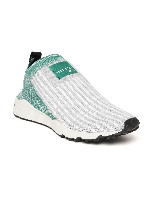 new style e3acd 37f2e ADIDAS Originals Men White  Green EQT Support SK Primeknit Slip-On Sneakers