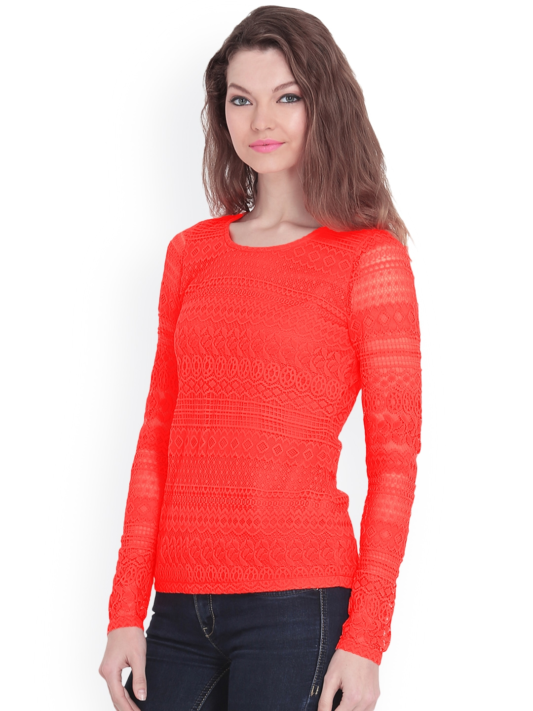 e6464186fc0 Buy FabAlley Women Coral Red Lace Top - Tops for Women 679239 | Myntra