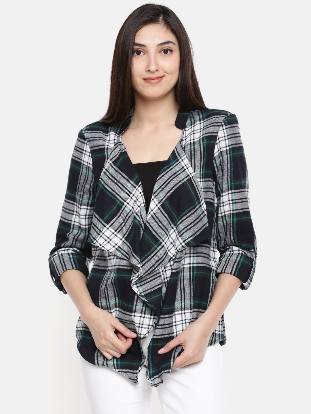Vero Moda Women Navy   Green Checked Shrug