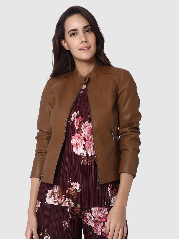 be454a3037832 Buy Vero Moda Women Brown Solid Biker Jacket - Jackets for Women ...