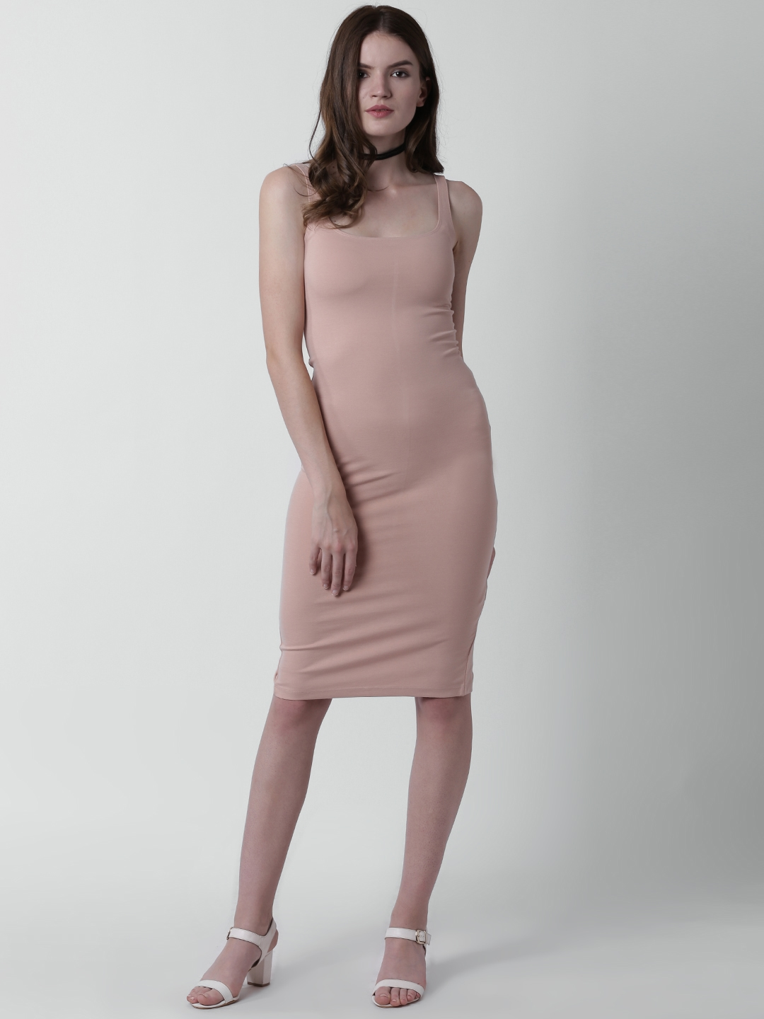 6533eaab893 Buy FOREVER 21 Women Dusty Pink Solid Bodycon Dress - Dresses for ...