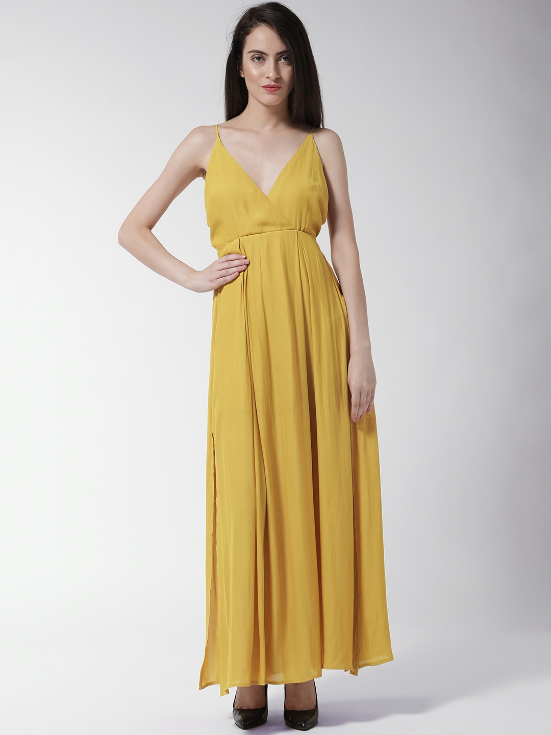 3a6fe0980b7 Buy FOREVER 21 Women Mustard Yellow Solid Maxi Dress - Dresses for ...
