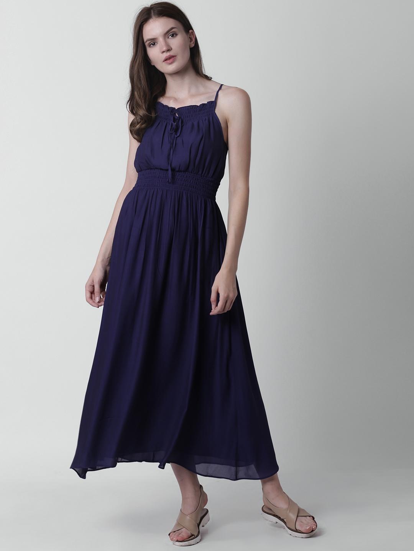 b84df12fd1 Buy FOREVER 21 Women Navy Solid Maxi Dress - Dresses for Women ...
