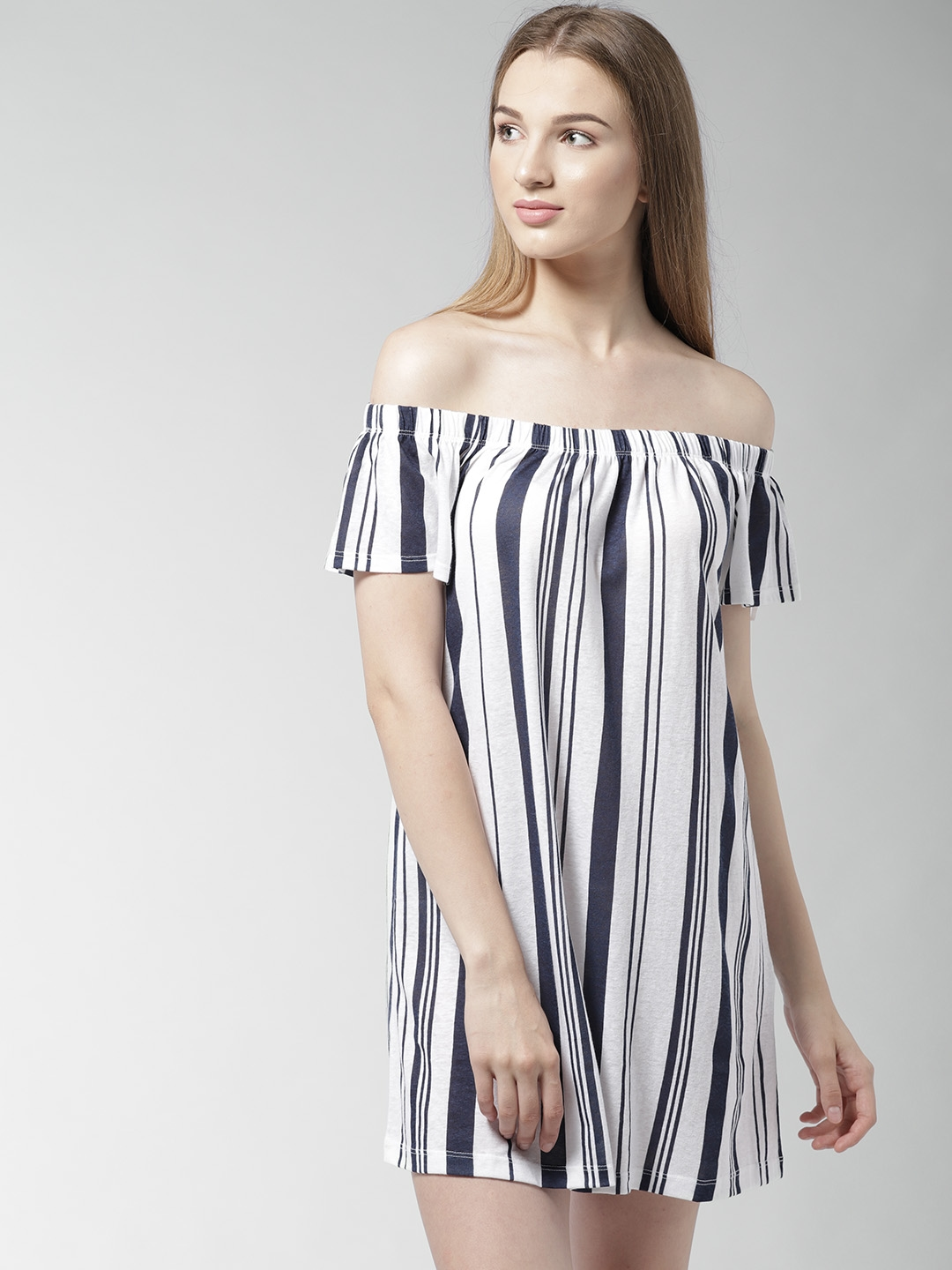 9ccedcabdfde Buy FOREVER 21 Women Navy   White Striped Off Shoulder A Line Dress ...