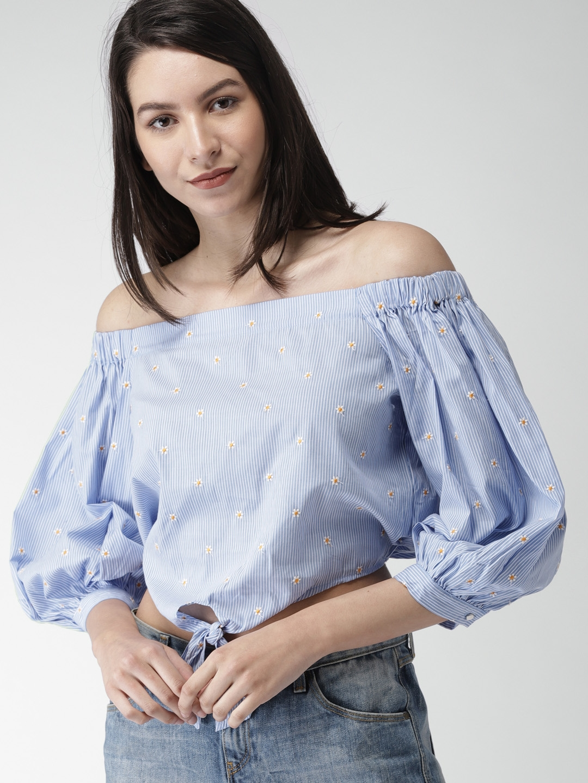 2fc1abb2709282 Buy FOREVER 21 Women Blue Striped Bardot Top - Tops for Women ...