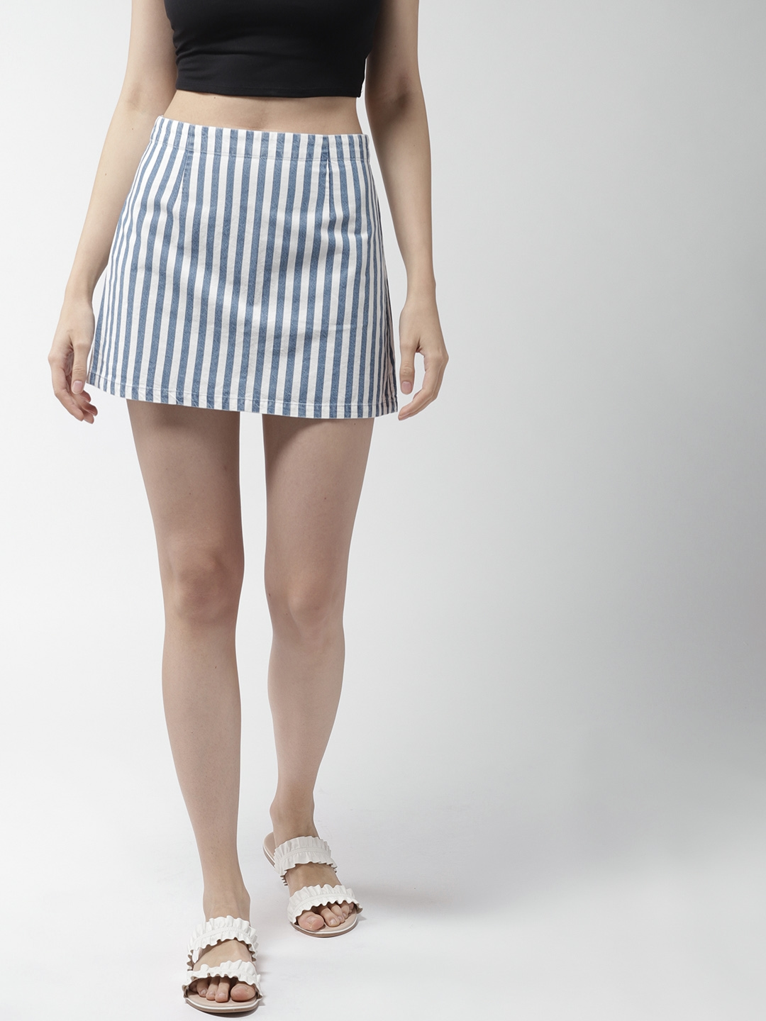 00cb9b59722fe Buy FOREVER 21 Blue & White Striped Mini A Line Skirt - Skirts for ...