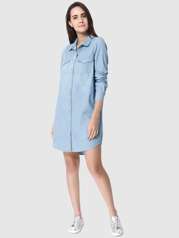 e2a44d2ec848a9 Buy Vero Moda Women Blue Solid Denim Shirt Dress - Dresses for Women ...
