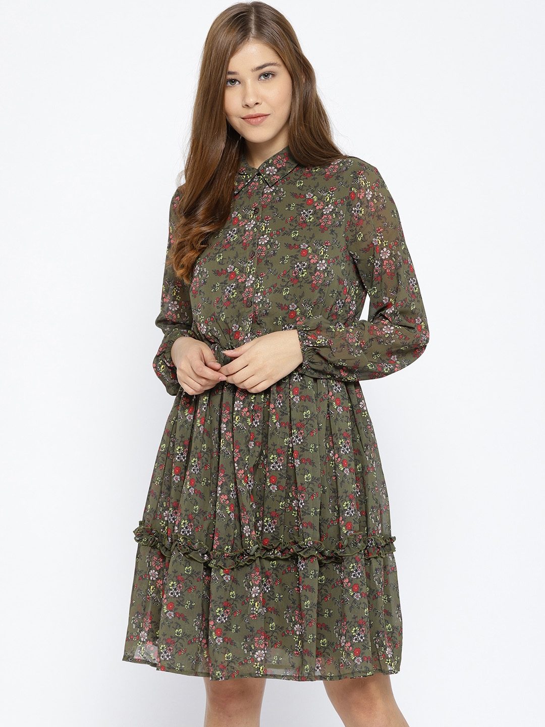 99dc5014105 Buy Vero Moda Women Green Printed Shirt Dress - Dresses for Women ...