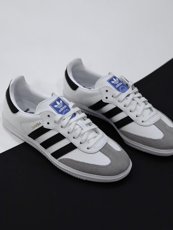 c431b9539940 Buy Adidas Originals Kids White   Grey Samba OG J Leather Sneakers ...
